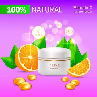 Natürliche creme mit vitamin c im glatten rohr-vektor