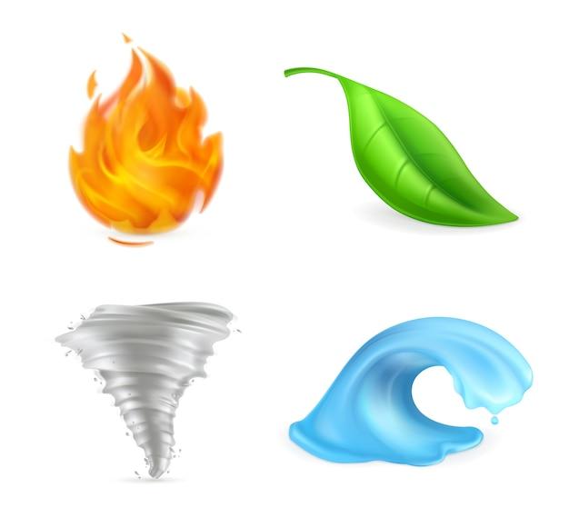Natürliche elemente, feuer, flamme, grünes blatt, tornado, hurrikan, sturm, welle, umwelt, vektorillustration