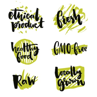 Natürliche elemente für bio-lebensmittel gvo-freie zeichen aus lokalem anbau rohes und ethisches produkt