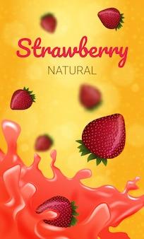Natürliche erdbeere zum füllen von süßigkeiten. natürlicher frischer saft.