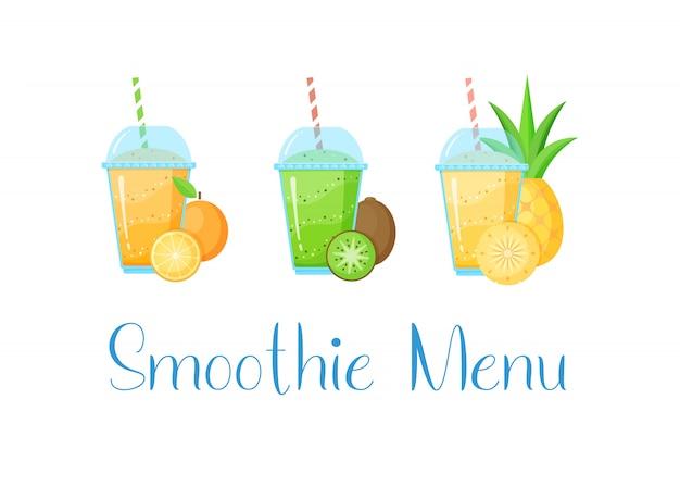 Natürliche frucht smoothie menü sammlung grafik