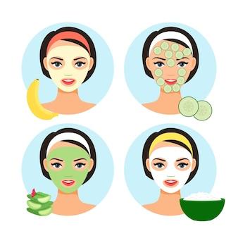 Natürliche gesichtsmasken. hausgemachte kosmetik-gesichtsmaske für niedliche mädchengesichtsillustration der karikatur