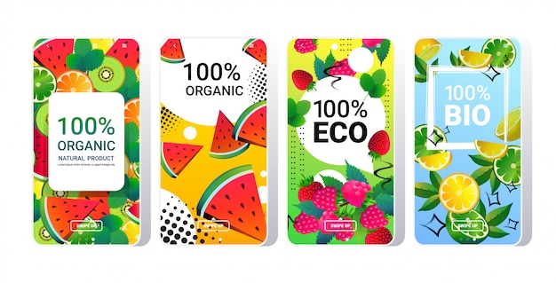 Natürliche gesunde bio-produkt frische lebensmittel online mobile app smartphone-bildschirme setzen verschiedene früchte