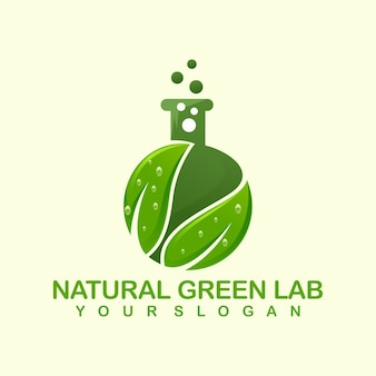 Natürliche grüne lab logo vorlage