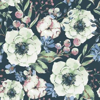 Natürliche grußkarte des vektorweinleseaquarells mit anemone