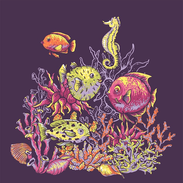 Natürliche grußkarte des weinleseseelebens, unterwasserillustration