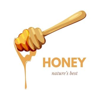 Natürliche honigfahnenschablone, nektar auf holzlöffel, tropfkarikaturillustration. hausgemachtes bioproduktplakatlayout mit text, leckerem bio-dessert, leckerem essen