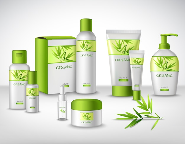 Natürliche kosmetische kräuterprodukte aus bambus