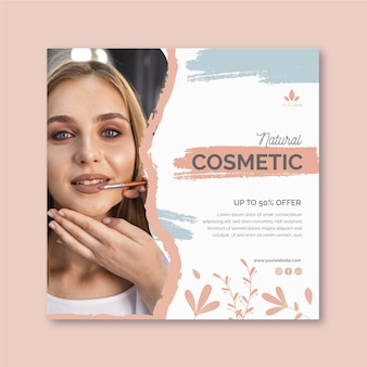 Natürliche kosmetische quadratische flyer-vorlage