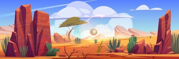 Natürliche landschaft der wüste afrikas mit tumbleweed, die entlang heißer trockener verlassener afrikanischer natur rollt
