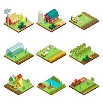 Natürliche landwirtschaft isometrische 3d-elemente