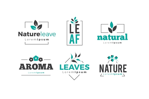 Natürliche logo-kollektion in minimalistischem stil