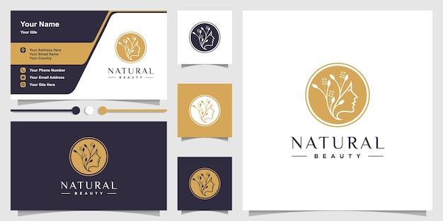 Natürliche logo-schablone mit schönheitsfrau und visitenkartenentwurf