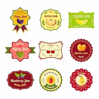 Natürliche marmelade bunte etiketten