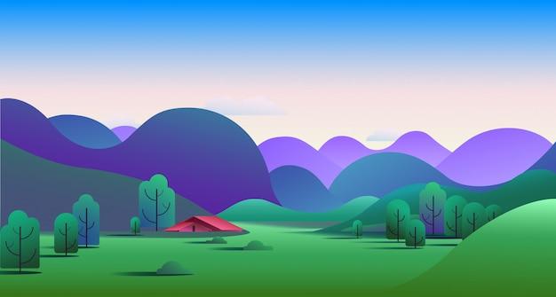 Natürliche morgenlandschaft mit hügeln und campingzelt auf wiese - vector illustration.