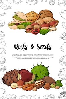 Natürliche nüsse und samenschablonenillustration