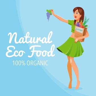 Natürliche öko-lebensmittel. 100% bio-lebensmittel. gesundes essen. mädchen mit öko-lebensmitteln.