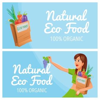 Natürliche öko-lebensmittel. 100% bio-lebensmittel. gesundes essen. papiertüte mit öko-lebensmitteln.