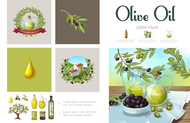 Natürliche oliven-infografikschablone der karikatur mit olivenkranz-baumzweigdosenschalen, die auf hügelgläsern und flaschen des organischen öls bauen