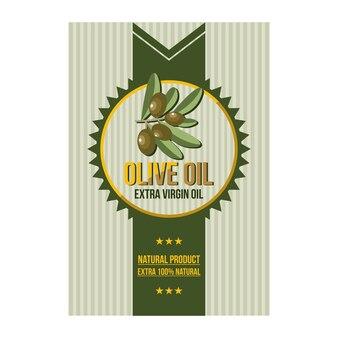 Natürliche olivenöl-blatt-ausweis-aufkleber-illustration