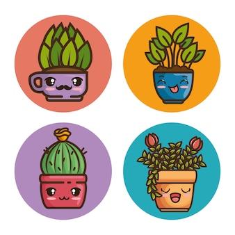 Natürliche pflanzenkarikatur des kawaii topfes