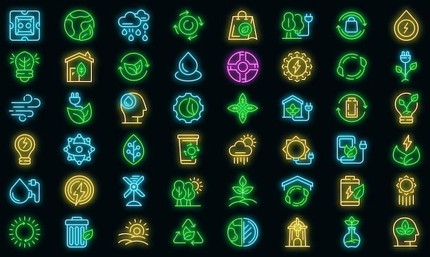 Natürliche ressourcen icons set vektor neon