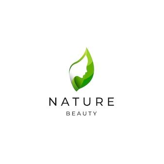 Natürliche schönheit frau logo icon design vorlage flacher vektor