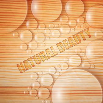 Natürliche schönheit mit wassertropfen und blasen realistische illustration