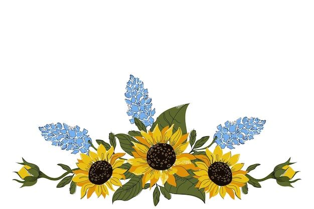 Natürliche sonnenblumengrenze des flachen entwurfs