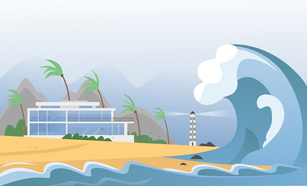 Natürliche starke katastrophe mit nebel und tsunami-wellen vom ozean mit haus, bergen, palmen und leuchtturm. erdbeben-tsunami-welle trifft die sandstrandillustration.