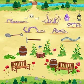 Natürliche tems für spiele und app objekte auf gelbem hintergrund sind isoliert die szene kann endlos auf den seiten wiederholen