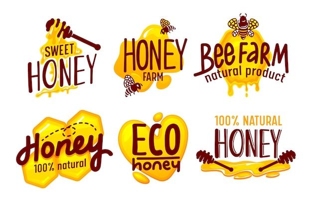 Natürliche und öko-farm-honig-verpackungs-etiketten und -tags, die auf weißem hintergrund isoliert werden.