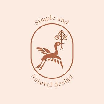 Natürliche vogellogo-vektorvorlage für bio-marken im erdton