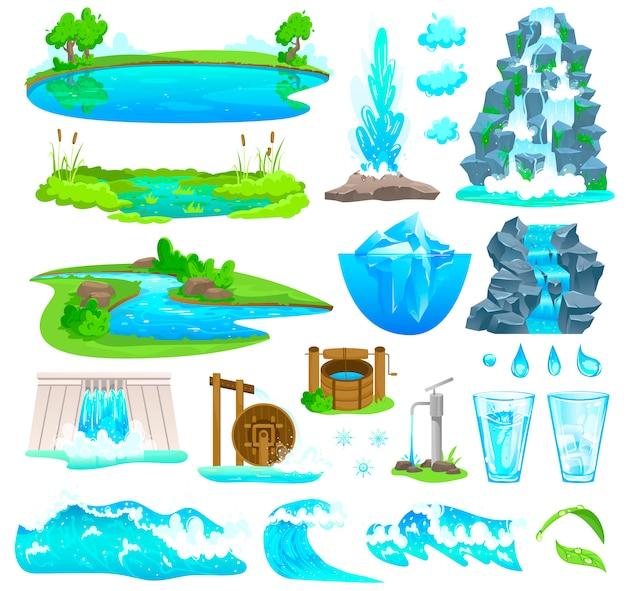 Natürliche wasserlandschaftsillustration, karikaturnatursatz des fließenden flussstroms, wasserfall auf berg, uferpromenade des sees