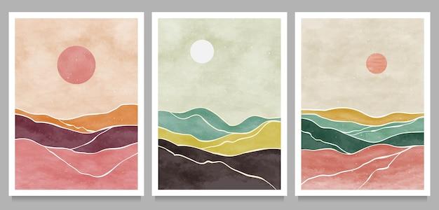 Natürlicher abstrakter berg am set. moderner minimalistischer kunstdruck der mitte des jahrhunderts. abstrakte zeitgenössische ästhetische landschaft.