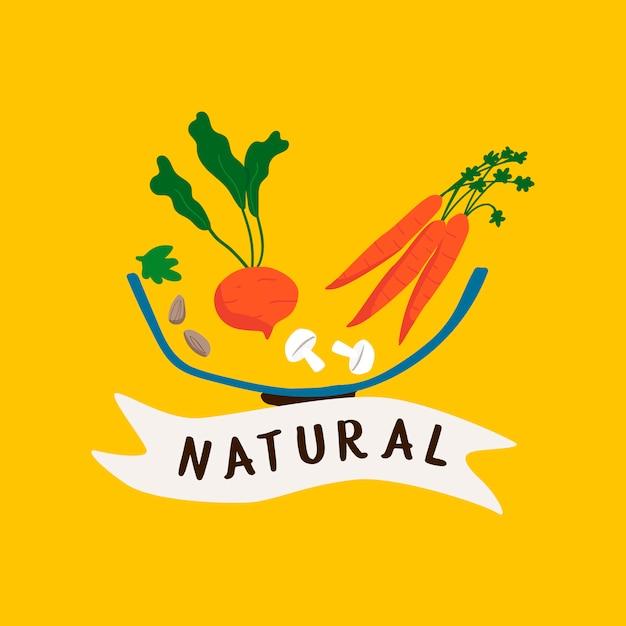 Natürlicher abzeichenvektor des frischen lebensmittels