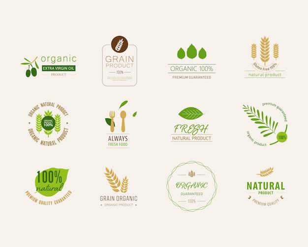 Natürlicher aufkleber und organische fahne des frischen lebensmittels