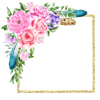 Natürlicher boho-blumenblumenfeder-rahmenrand des aquarells