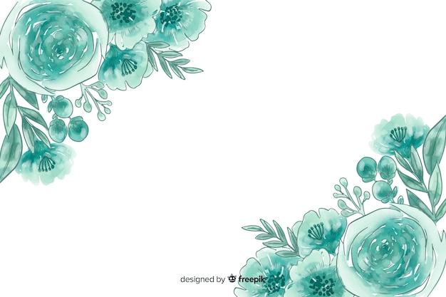 Natürlicher hintergrund des aquarells mit blumen