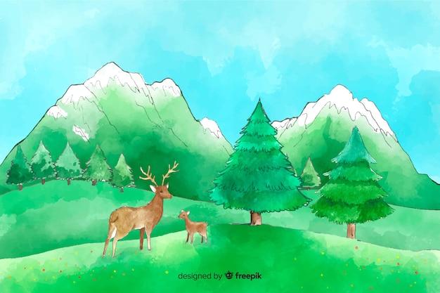 Natürlicher hintergrund des aquarells mit landschaft