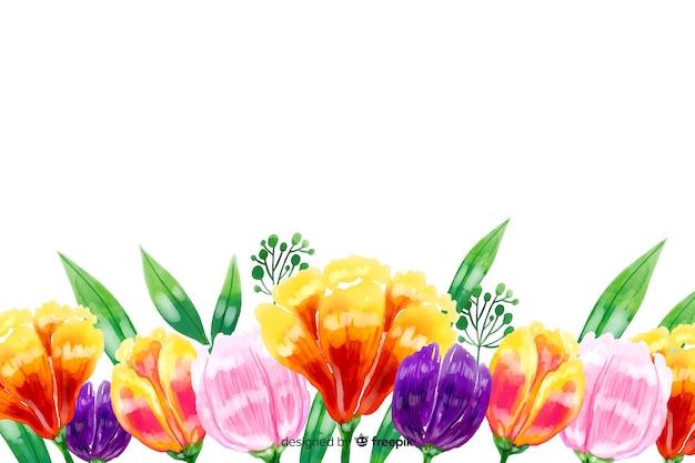 Natürlicher hintergrund mit bunten aquarellblumen