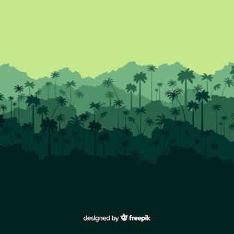 Natürlicher hintergrund mit tropischer waldlandschaft