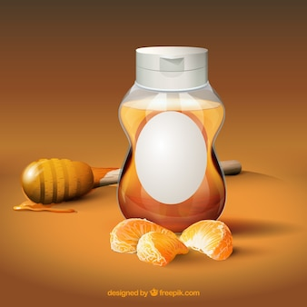 Natürlicher honig und mandarine