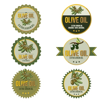 Natürlicher olivenöl-blatt-kreis-abzeichen-aufkleber