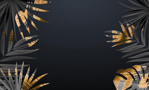 Natürlicher realistischer tropischer hintergrund des schwarzen und goldenen palmblattes