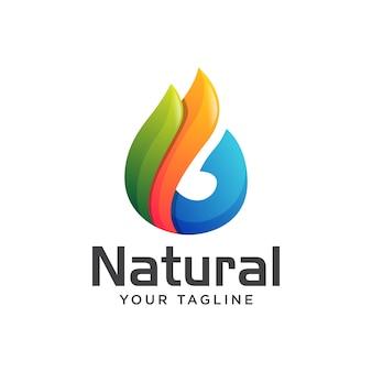 Natürlicher wassertropfen-logo-gradient des blattes