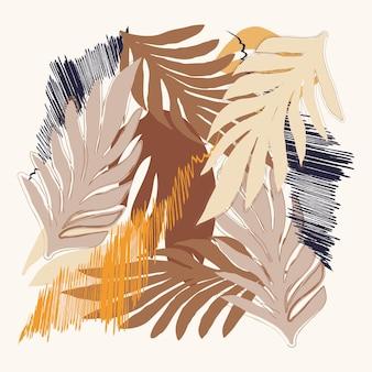 Natürliches blumenmuster abstrakte blätter textur formt blaue und braune farbe weißer hintergrund