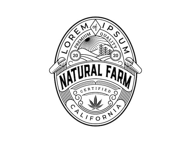 Natürliches hanf-farm-logo-abzeichen-design