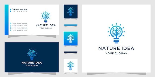 Natürliches ideenlogo mit strichgrafikstil und visitenkartenentwurf