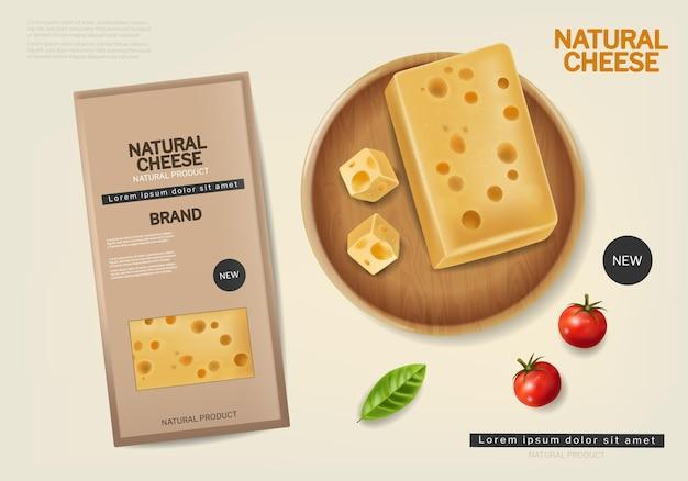 Natürliches käsepaket vektor realistisch produktplatzierung etikettendesign bioprodukte banner